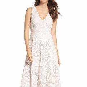 Vince Camuto Women's Lace Midi Length Dress Ivory